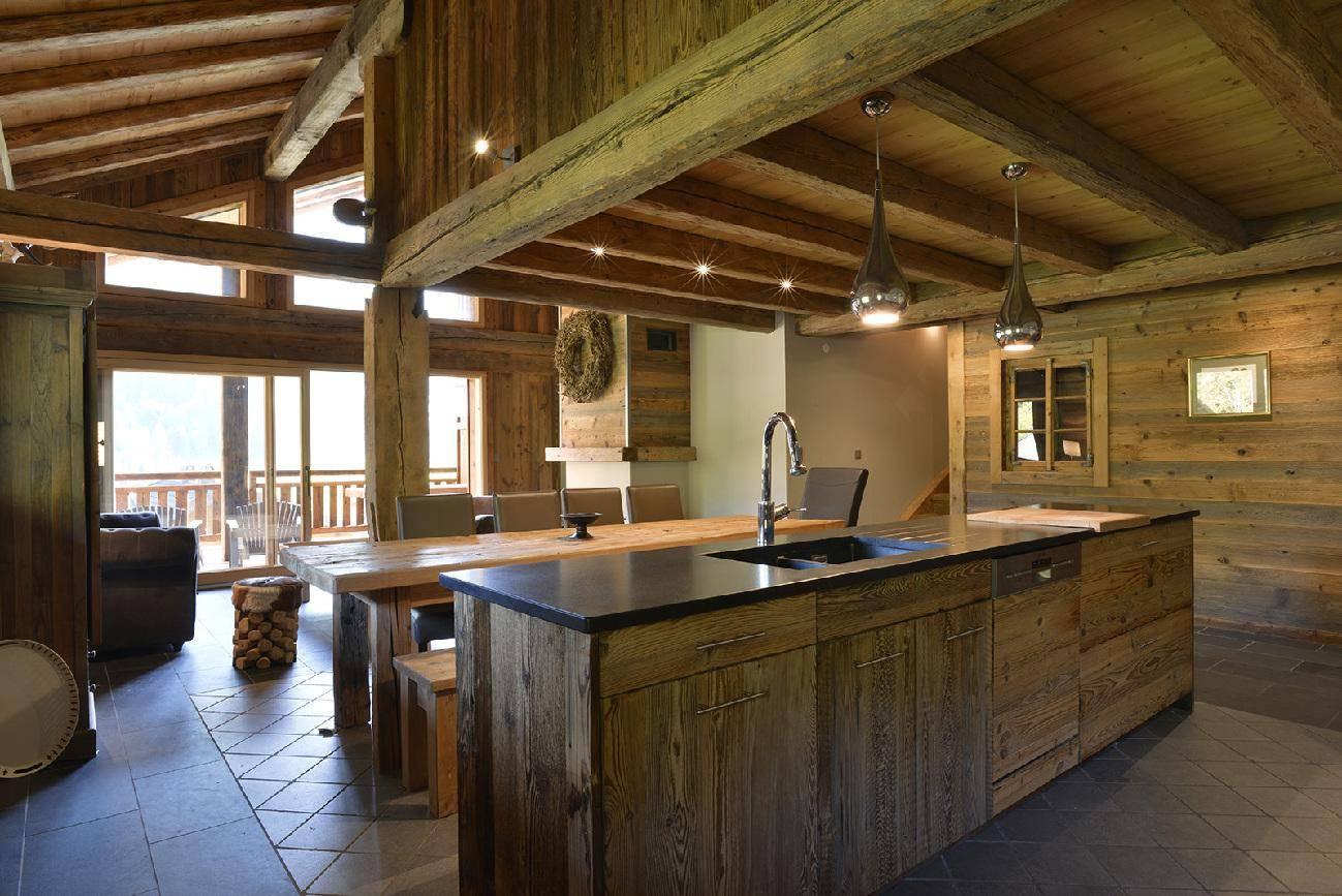 Conception de cuisine en bois folliet charpentes abondance - Cuisine chalet moderne ...
